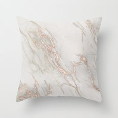 Marble Rose Gold Blush Pink Metallic by Nature Magick Throw Pillow
