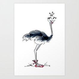 Ostrich Ballerina Art Print