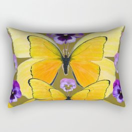 SPRING PURPLE PANSY FLOWERS & YELLOW BUTTERFLIES GARDEN Rectangular Pillow