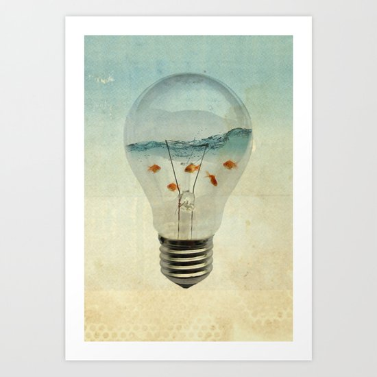 blue sea thinking Art Print