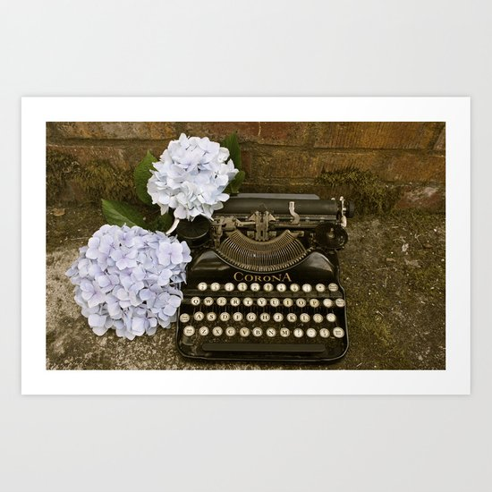 Typewriter with Hydrangeas  Art Print