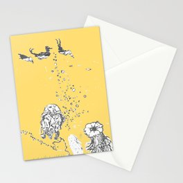 Two Tailed Duck and Jellyfish Pale Yellow Mellow Stationery Cards