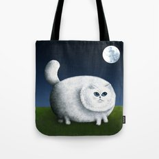 Fat Cat Looks at the Moon Tote Bag
