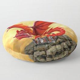 Red Dragon's Treasure Chest Floor Pillow