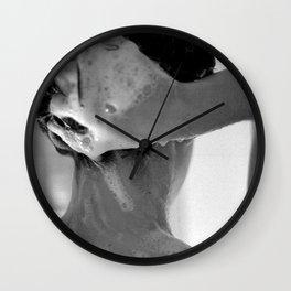 Woman Showering, 35mm Film, B&W Wall Clock