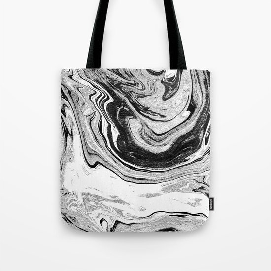 Masuki - black and white minimal spilled ink marbled paper marble texture marbling marble painting Tote Bag
