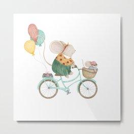 Baby Mouse an a Bike Basket Metal Print