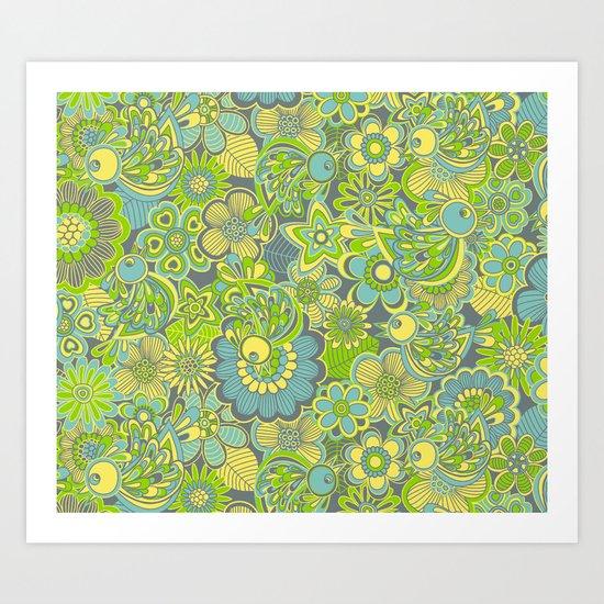 Welcome birds to...green Art Print