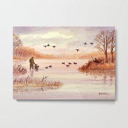 Setting Duck Decoys - Sudden Flyover II Metal Print