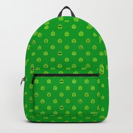 Brick People Faces in Green Backpack