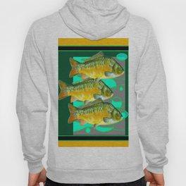 MODERN ART GREEN & OCHER DECORATIVE THREE FISH Hoody