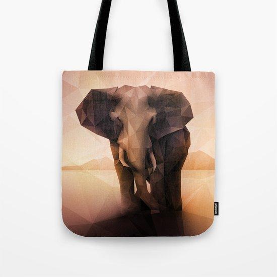 Elephant (Low Poly Peach) Tote Bag