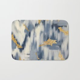 Blue and Gold Ikat Pattern Abstract Badematte