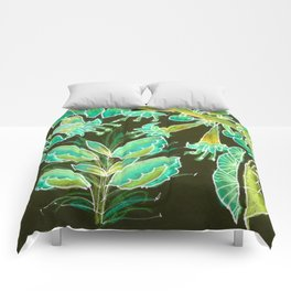 Irish Garden, Lime Green Flowers Dance in Joy Comforters