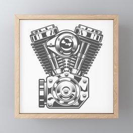 Vintage motorcycle engine in design fashion modern monochrome style illustration Framed Mini Art Print