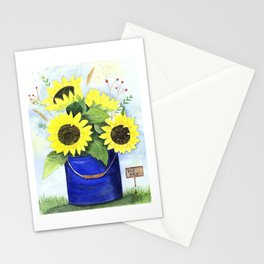 Watercolor sunflower bouquet in bucket Stationery Cards