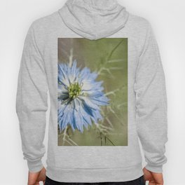 Blue flower close up Nigella love in the mist Hoody