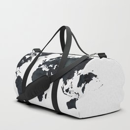World Map in Black and White Ink on Paper Duffle Bag