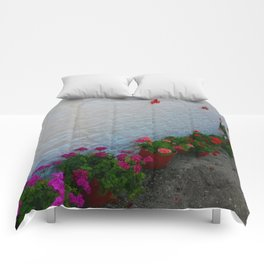 Geraniums small Village | Greece Comforters
