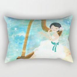 Harp girl: Music from the moon Rectangular Pillow