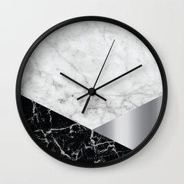 White Marble - Black Granite & Silver #230 Wall Clock