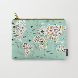 Cartoon animal world map for children and kids, back to schhool. Animals from all over the world Carry-All Pouch