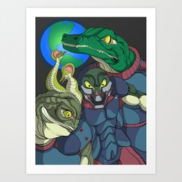 3 Reptilian Earth Art Print