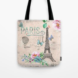Paris - my love - France Nostalgy - pink French Vintage Tote Bag