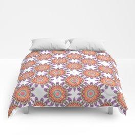 Modern Pattern in Orange and Purple Comforters