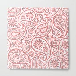 Coral pink and white vintage ham paisley pattern Metal Print