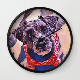 The Schnoodle - A Schnauzer Poodle Mix Breed Wall Clock