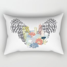 Flying flowers. Hand drawn wings and flowers. Conceptual. Wild at heart. Rectangular Pillow
