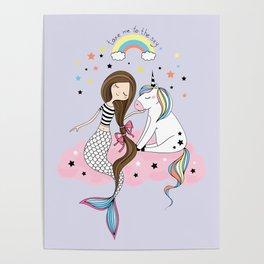 Mermaid & Unicorn Poster