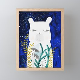 polar bear with botanical illustration in blue Framed Mini Art Print