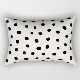 Modern Polka Dots Black on Light Gray Rechteckiges Kissen