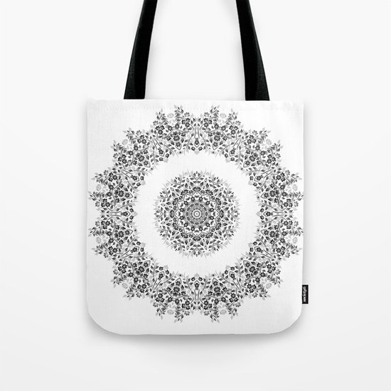 Black And White Floral Mandala Tote Bag