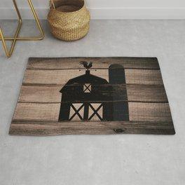 Black Rustic Barn & Rooster Rug