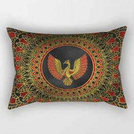 Gold and red Decorated Phoenix bird symbol Rectangular Pillow