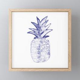 Blue Pineapple Framed Mini Art Print