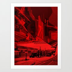 Dark city red Art Print