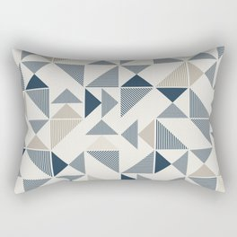 Blue Beige Abstract Striped Triangles Rectangular Pillow