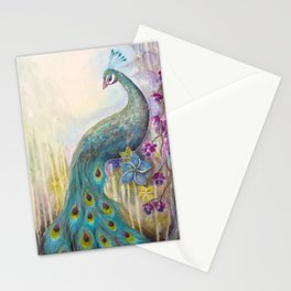 Jeweled Peacock Stationery Cards