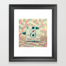 Film Mint Camera on a Colourful Retro Background  Framed Art Print