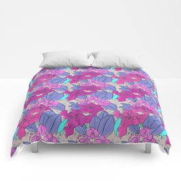 Pink Lilies and Orchids Comforters