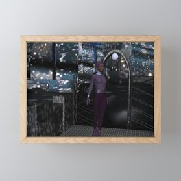 Alien City at Night Framed Mini Art Print