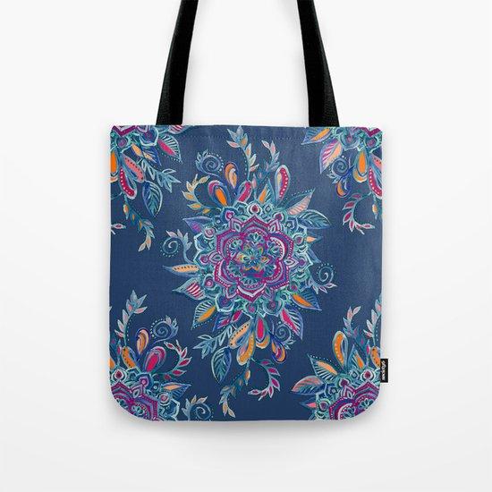 Deep Summer - Watercolor Floral Medallion Tote Bag
