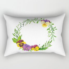 Watercolor pansies wreath Rectangular Pillow