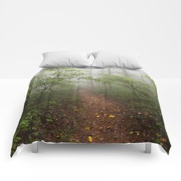 Adventure Ahead - Foggy Forest Digital Nature Photography Comforters