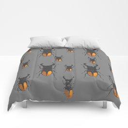 NATURE LOVERS STAG HORNED BEETLES BUG GREY ART M Comforters