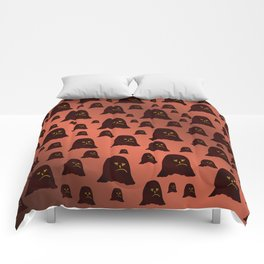 face, brown, ghost, halloween, pattern, gold, funny, set, unique, face, brown, ghost, halloween, pa Comforters